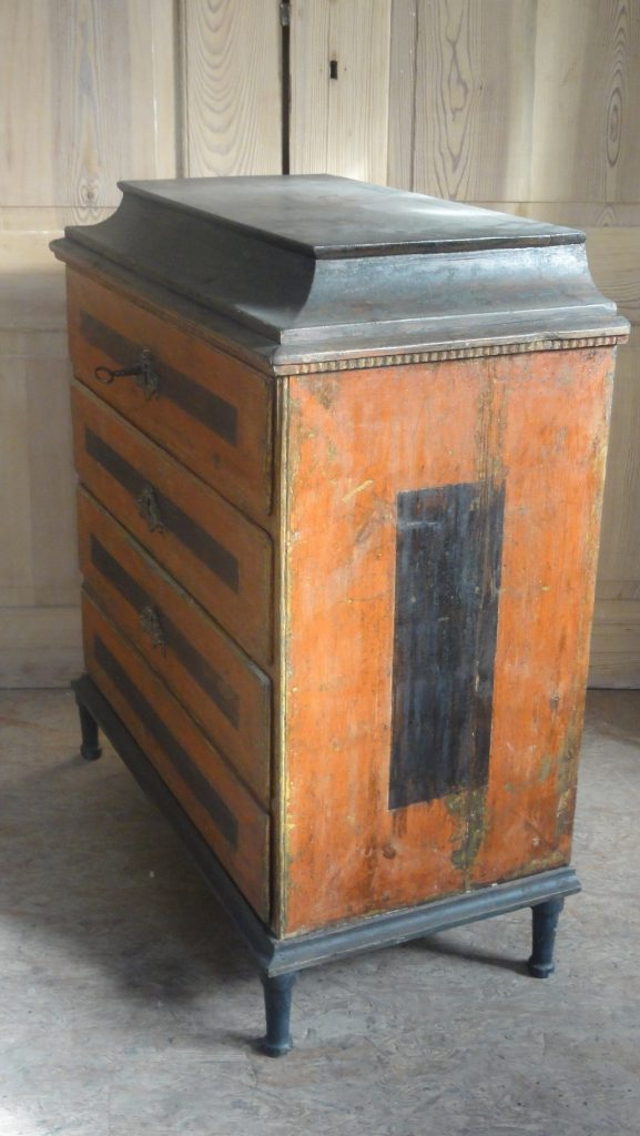 Gustavian Period Red and Black Painted Commode