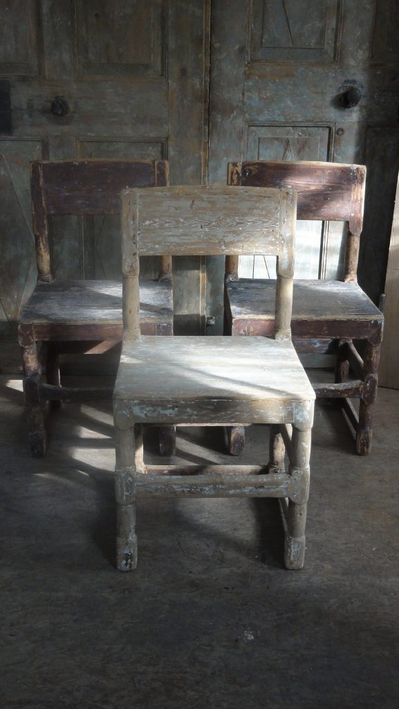 17th Century Antique Swedish Country Chairs