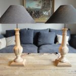 Pair of Turned Lamps Made Of Antique Oak
