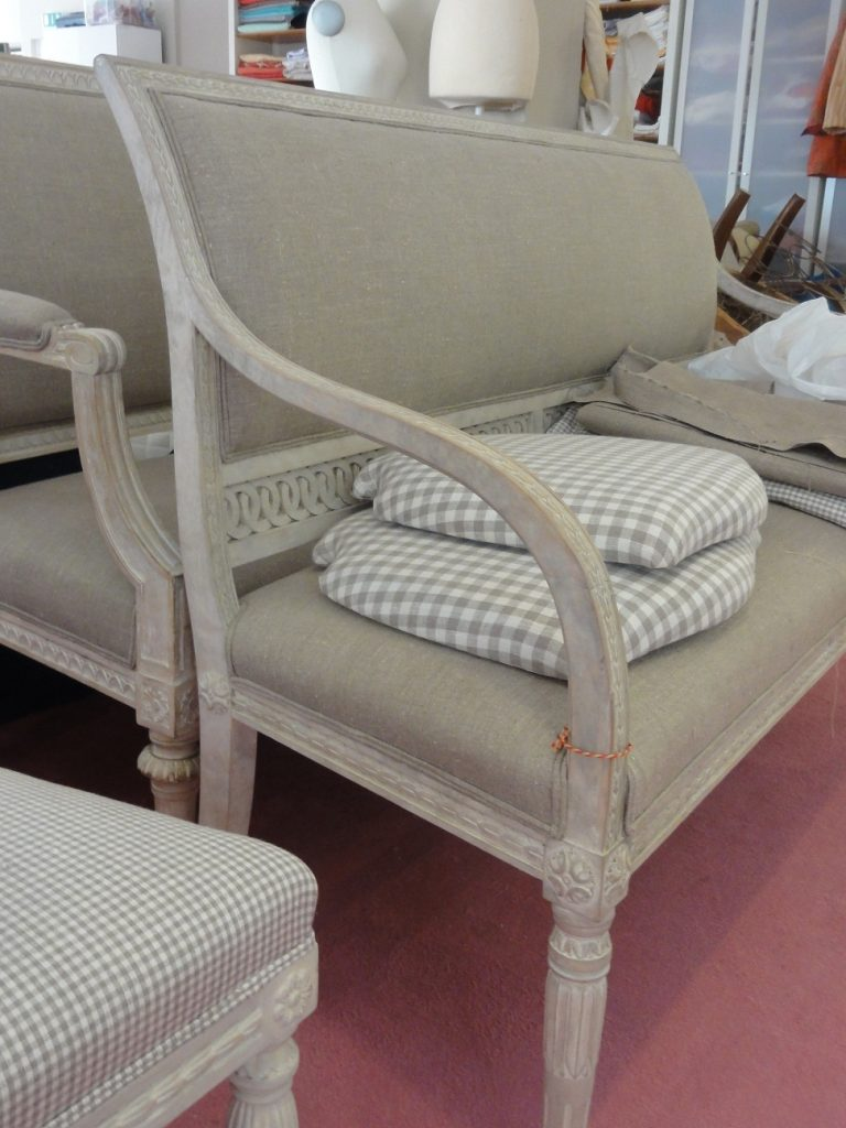 Gustavian Benches With New Upholstery