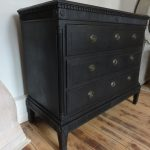 Large Danish Black Painted Gustavian Chest of Drawers