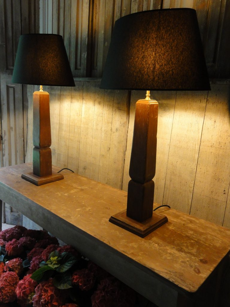 Pair of Painted Antique Lamps