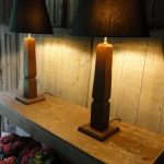 Pair of Red Painted Table Lamps Made Of 18th Century Oak Columns.
