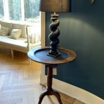 Black Painted Antique Table Lamp. Turned Oak Column. Italy 18th Century