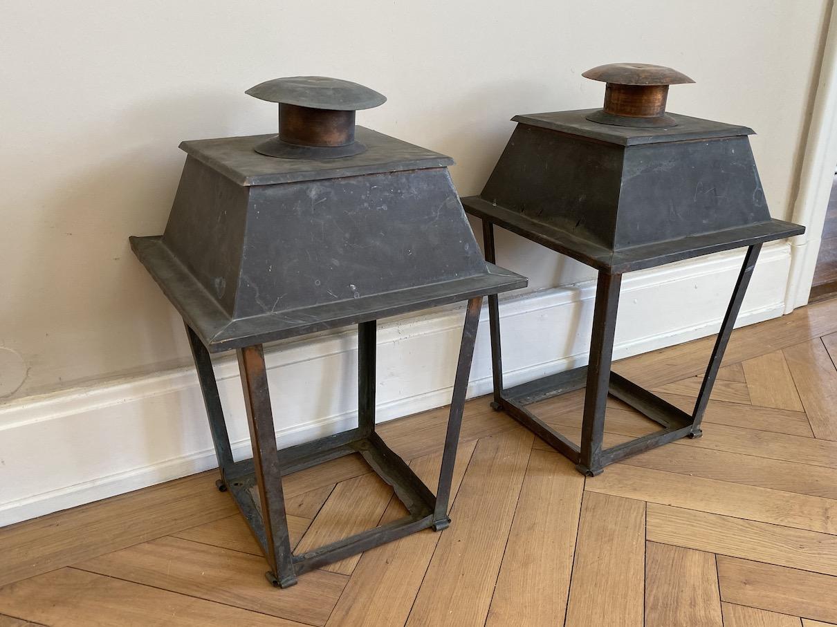 Pair of Antique Copper Hall Lanterns