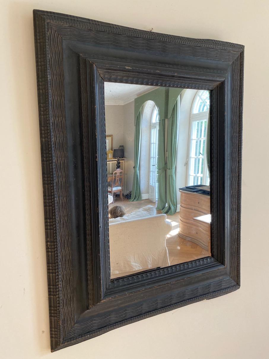Antique Flemish Ebonized Mirror - Belgium 18th Century