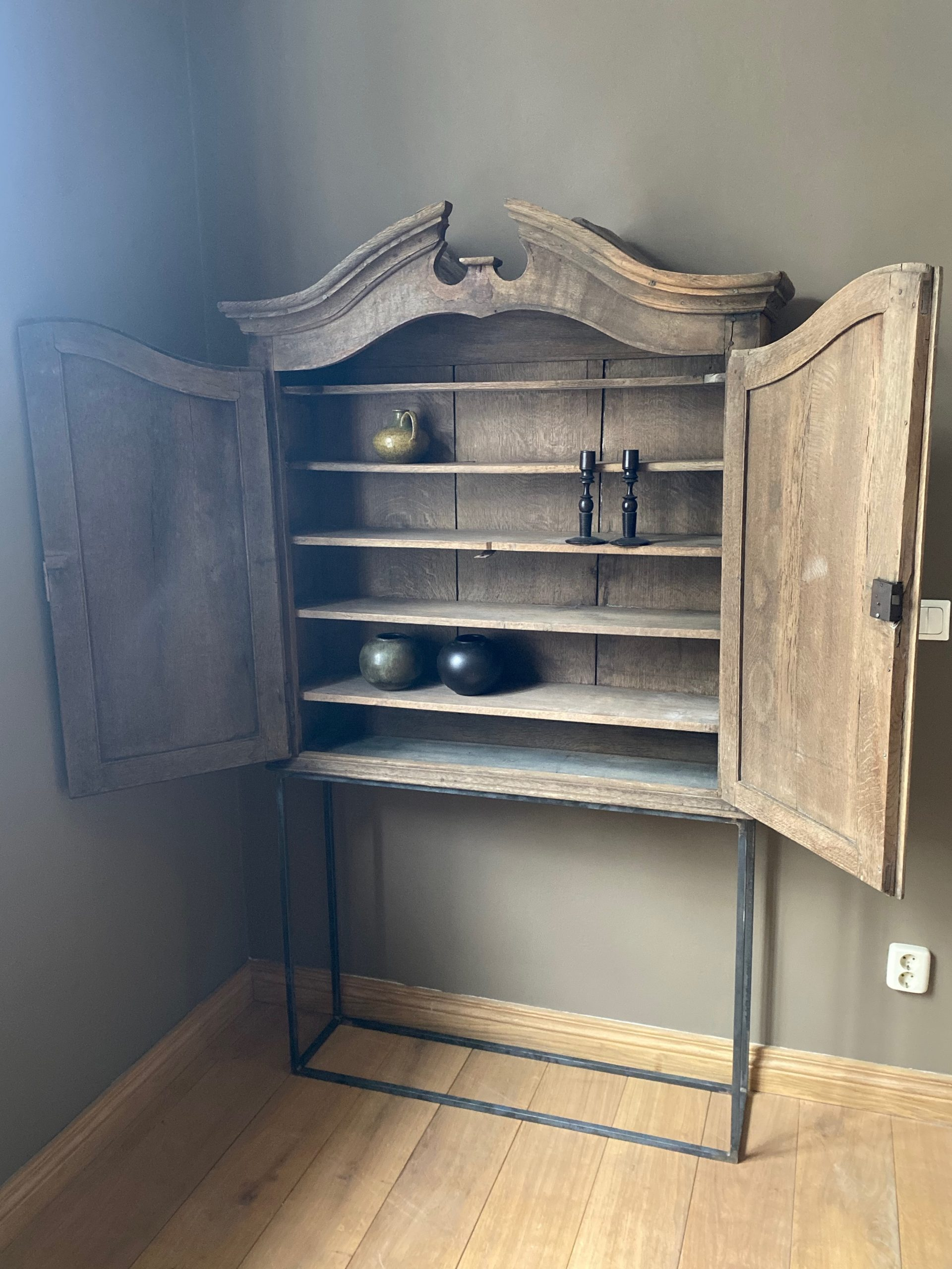 18th Century Oak Cabinet on Iron Stand