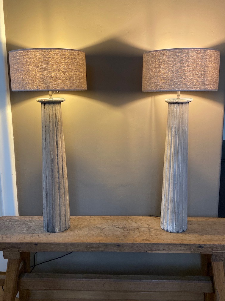 Pair of Antique Wooden Coloum Lamps