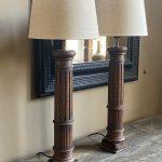 Pair of Wooden Table Lamps - Historic Oak Coloums