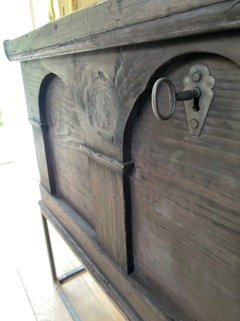 Black 18th Century Chest on Ironstand
